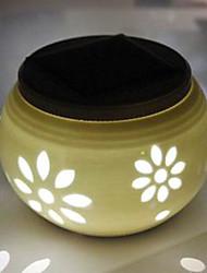 Chic Ceramic Flower Pattern LED Solar Powered Garden Light -Solar Table Light- Solar Small Night Light In Jar Design