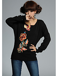 TS Ethnic Chinese Style Patch Butterfly Embroidery Long Sleeves Sweater Tops