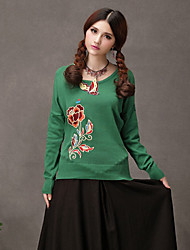 TS Ethnic Chinese Style Embroidery Patch Butterfly  Sweater Tops