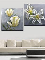 """MX White Flower Bloom 2 Set Abstrakt Mit gestreckten Rahmen Ölgemälde (20 """"x 20"""", 24 """"x 24"""")"""
