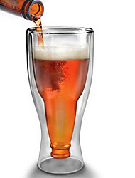350cc Heat-Resistant Glass Beer Cup Creative Double Wall Glass Cup, Win Cup Large Cup Of Water