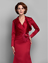 Women's Wrap Shrugs Long Sleeve Satin Red Wedding / Party/Evening Wide collar Draped Open Front