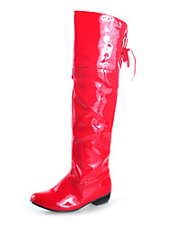 Patent Leather Chunky Heel Knee High Boots With Lace-up (More Colors)