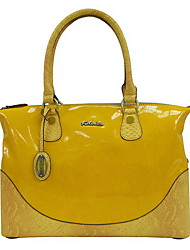 Kate&Co Women's Yellow Pvc Italian Style Luxury Mirror Surface Handbag