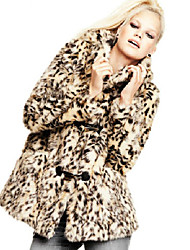 Long Sleeve Standing Collar Faux Fur Party/Casual Coat