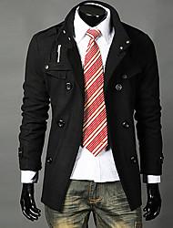 Mode DAYD Hommes pied de col double boutonnage épaule Tapis Tweed coupe-vent (accessoires de style, motif, taille, couleur aléatoire) (Noir)
