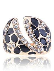Liga de moda com Rhinestone Esmalte Leopardo Ring (mais cores)