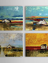 Hand Painted Oil Painting Landscape Silent House with Stretched Frame Set of 3 1309-LS1021