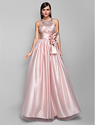 A-Line Jewel Neck Floor Length Tulle Prom Dress with Crystal by TS Couture®