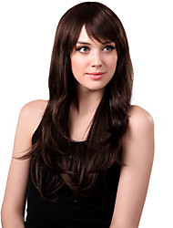 Capless Long Synthetic Brown Wavy Hair Wig Side Bang