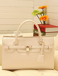 Lady Fashion Crocodile Veins PU Leather Tote/Crossbody Bag(Cream)