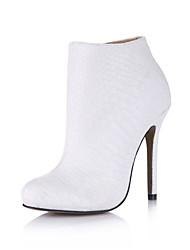 Calçados Femininos - Botas - Botas da Moda - Salto Agulha - Branco - Couro Sintético - Social