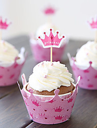 Partito da tavola Accessori decorativi per torte Battesimo/Compleanno Classico Non personalizzato Carta Rosa #