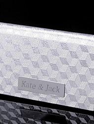 regalo groomsman argento personalizzato motivo a scacchi cardcase