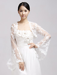 Wedding  Wraps Coats/Jackets Long Sleeve Lace Ivory Wedding / Party/Evening Illusion Open Front
