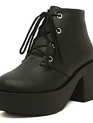 Kunstleder Chunky Heel Booties / Ankle Boots Freizeitschuhe