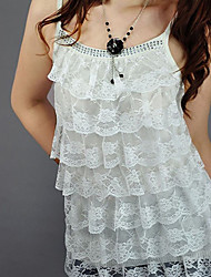 Women's Solid/Lace Black/Pink/Red/White/Yellow Vest Ruffle/Layered/Lace