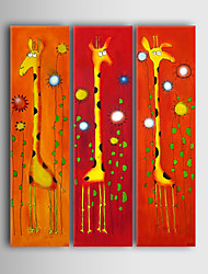 Hand-Painted Cartoon / Animal Three Panels Canvas Oil Painting For Home Decoration