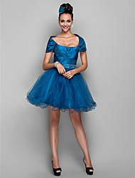 Cocktail Party / Prom / Holiday Dress - Ink Blue Plus Sizes / Petite A-line Off-the-shoulder Short/Mini Taffeta / Tulle