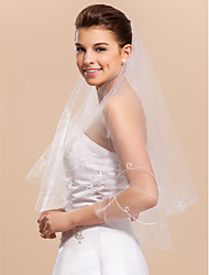 One Layer Elbow Wedding Bridal Veil With Cut Edge