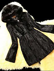 Manga larga con capucha de piel de visón Fiesta / Escudo Casual