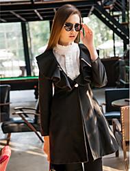 Manteau Femme,Couleur Pleine Vintage Manches Longues Blanc / Noir Polyester Epais Hiver