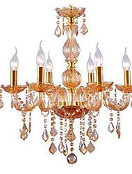 Golden Color E14 * 6 Modello Lampadari Moda lampada di pendente di cristallo