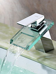 Sprinkle® by Lightinthebox - Waterfall Bathroom Sink Faucet with Glass Spout(Chrome Finish)