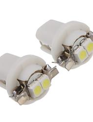 2Pcs B8.5 0.2W 2x3528SMD 10LM 6000-6500K Cool White Light LED Bulb (DC12V)