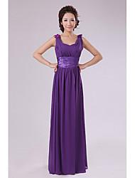 Qiaorui Moda Chiffon Vestido de dama de honra do assoalho-comprimento (roxo)