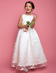 A-line Princess Floor-length Flower Girl Dress - Lace Jewel with Sash / Ribbon
