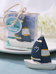 Blue Sail Boat Candle
