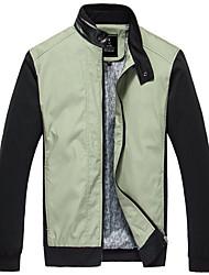 Casual stand Collar PU veste d'épissage de PPZ Hommes (Vert)