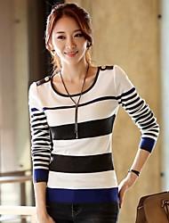 JFS Women' Fashion Long Sleeve Stripe Pattern Knitwear Without Necklace