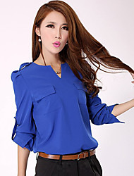 Frauen Roll Up Cuff Bluse