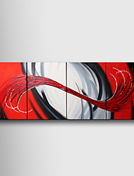 Hand-Painted Abstract Four Panels Canvas Oil Painting For Home Decoration
