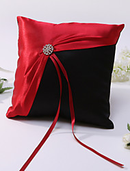 Ring Pillow In Satin With Rhinestones And Sash