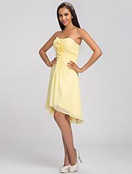 Knee-length / Asymmetrical Chiffon Bridesmaid Dress - Plus Size / Petite A-line Sweetheart