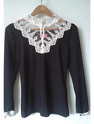Weimeijia Beads Stand Collar Lace Tops