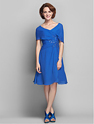 Lanting A-line Plus Sizes / Petite Mother of the Bride Dress - Royal Blue Knee-length Short Sleeve Chiffon