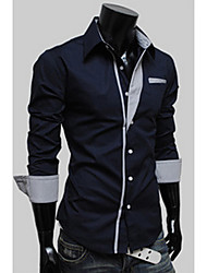 Langdeng Casual Harem Slim Contrast Color Long Sleeve Shirt(Navy Blue)