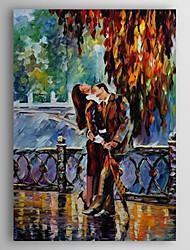 Pintado a mano la pintura al óleo personas se besan con el marco de estirado 1309-PE1012