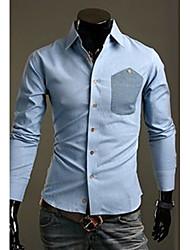 Herren Hemd-Einfarbig Freizeit Baumwollmischung Lang Blau / Orange
