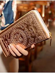 Moda Couro Patent Totem Padrão Wallet