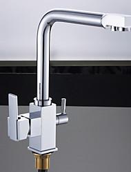 Transitional Single Handle Chrome Finish Kitchen Faucet
