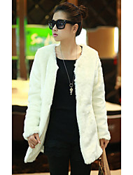 Pretty Long Sleeve Collarless Faux Fur Party/Casual Coat(More Colors)
