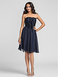 Knee-length Chiffon Bridesmaid Dress - Dark Navy Plus Sizes A-line Strapless