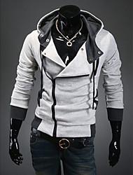 Loisirs Mode Suspension de la capuche DJJM hommes cultivent son manteau cardigan en laine polaire (gris clair)