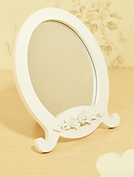 "9.5""Flower Bloom Design White Brief Tabletop Mirror"