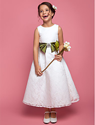 Lanting Bride A-line / Princess Ankle-length Flower Girl Dress - Lace Sleeveless Scoop with Bow(s) / Crystal Detailing / Sash / Ribbon